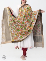 Beige Spring Floral Kalamkari Hand Painted Pure Cotton Dupatta-UDS2355