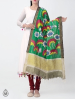 Green Lotus Kalamkari Hand Painted Pure Cotton Dupatta-UDS2353