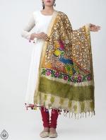 Orange Mayur and Mayuri Kalamkari Hand Painted Pure Cotton Dupatta-UDS2348