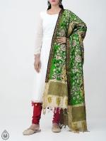 Green Mid-Night Mistic Kalamkari Hand Painted Pure Cotton Dupatta-UDS2347