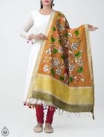Orange Floral Kalamkari Hand Painted Pure Cotton Dupatta-UDS2346