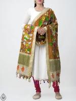 Brown Floral Kalamkari Hand Painted Pure Cotton Dupatta-UDS2342