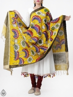 Yellow Lotus Kalamkari Hand Painted Pure Cotton Dupatta-UDS2341