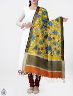 Yellow Brindavanam Kalamkari Hand Painted Pure Cotton Dupatta-UDS2338