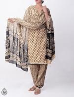 Cream Printed Rajasthani Cotton Salwar Kameez_1