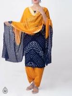 Shop Online Unstitched Violet-Yellow Pure Bandhani Cotton Salwar Kameez -PR8276